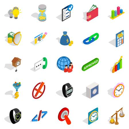 Interchange icons set, isometric style