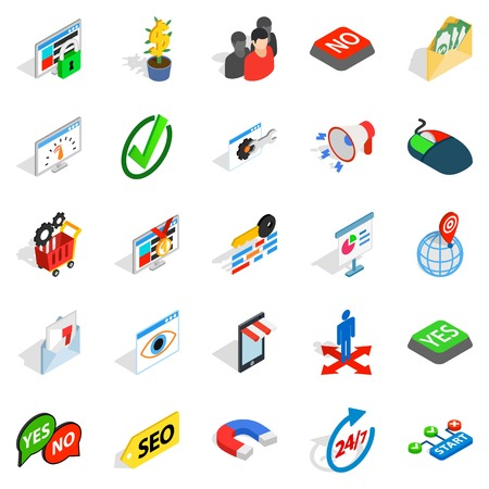 Truck icons set. Isometric set of 25 truck vector icons for web isolated on white background. Stock Illustratie