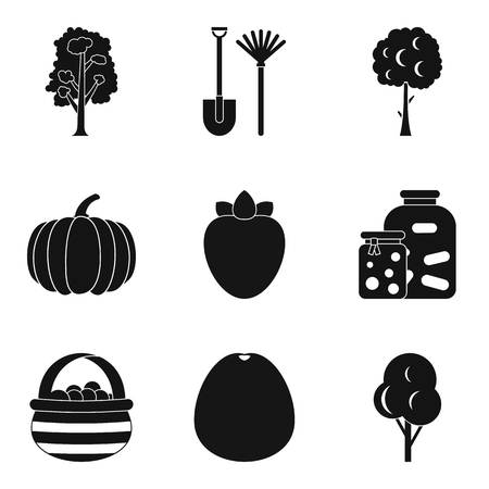 Horticultural icons set, simple set of 9 horticultural vector icons for web isolated on white background.