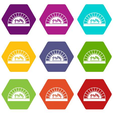 Pizza oven with fire icon set many color hexahedron isolated on white vector illustration.