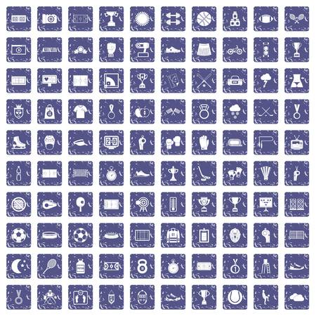 100 stadium icons set grunge sapphire Illustration