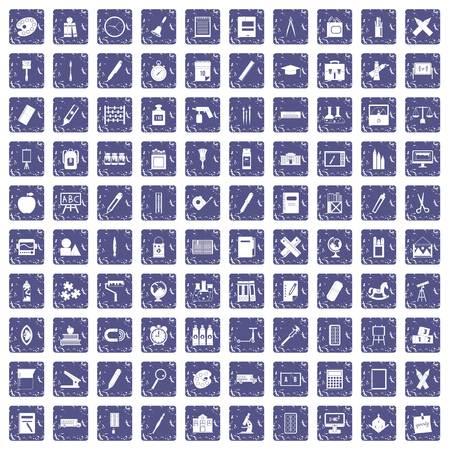 100 stationery icons set grunge sapphire
