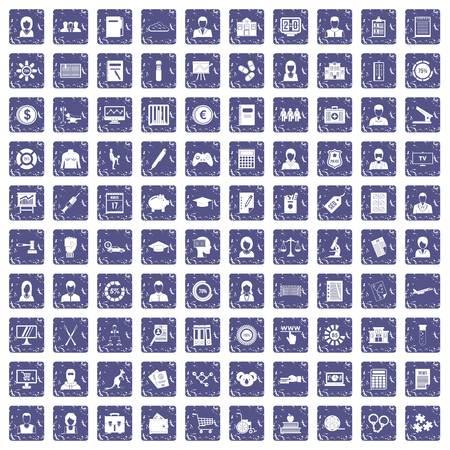 100 statistic data icons set grunge sapphire Illusztráció