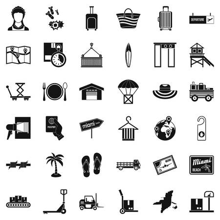 Handling icons set, simple style