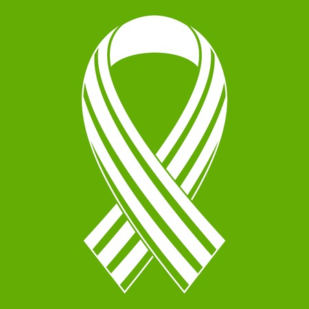 Ribbon LGBT icon white isolated on green background vector illustration.