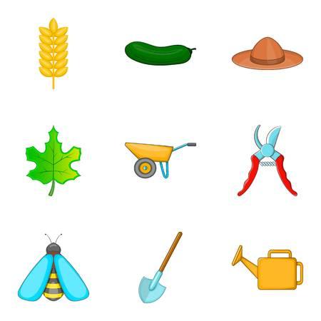 Garden work icons set, cartoon style