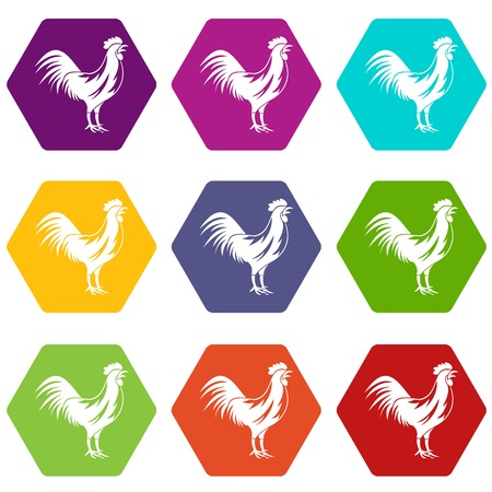 Gallic rooster icon set color hexahedron