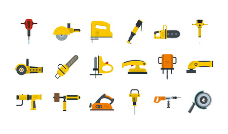 Electric tools icon set, flat style