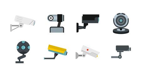 Security camera icon set, flat style Illustration