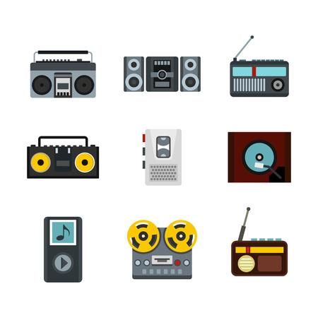 Record player icon set, flat style Illustration