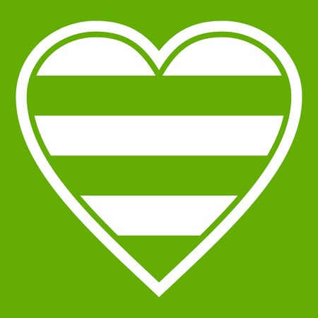 Striped Heart icon in color green illustration.