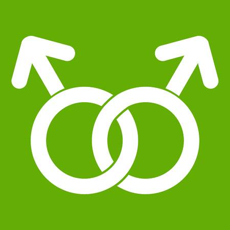 Love gay sign icon white isolated on green background vector illustration. Illustration