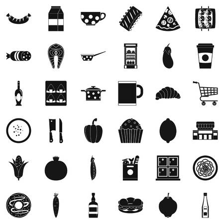 Luncheon icons set. Simple set of 36 luncheon vector icons for web isolated on white background Иллюстрация