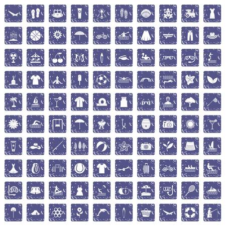 100 summer icons set in grunge style sapphire color isolated on white background vector illustration Illustration