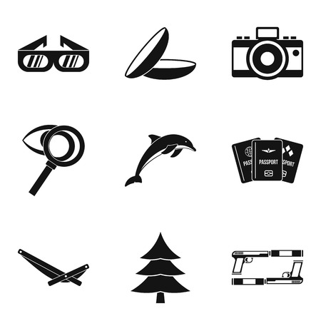 Look attentively icons set. Simple set of 9 look attentively vector icons for web isolated on white background