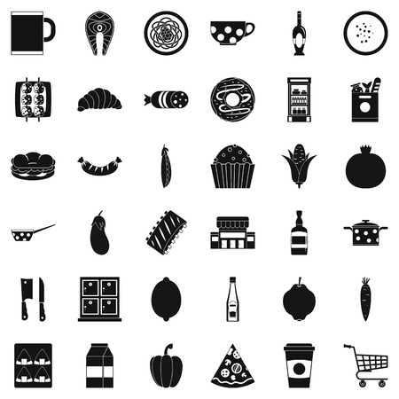 Official dinner icons set. Simple set of 36 official dinner vector icons for web isolated on white background