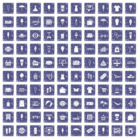 100 summer shopping icons set in grunge style sapphire color isolated on white background vector illustration.