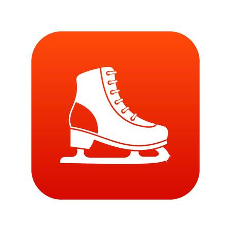 Ice skate icon digital red for any design isolated on white vector illustration. Illustration