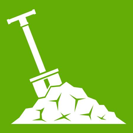 Shovel in coal icon white isolated on green background. Vector illustration Vectores