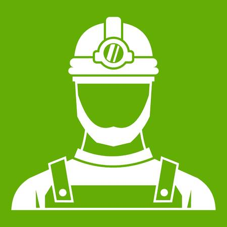 Male miner icon white isolated on green background. Vector illustration