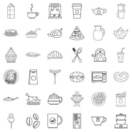 Dinner food icons set. Outline set of 36 dinner food vector icons for web isolated on white background.