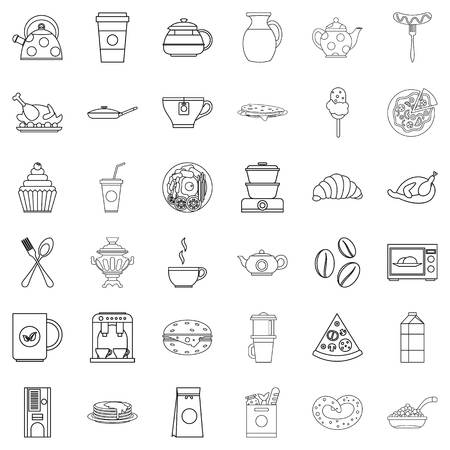 Fodder icons set. Outline set of 36 fodder vector icons for web isolated on white background.