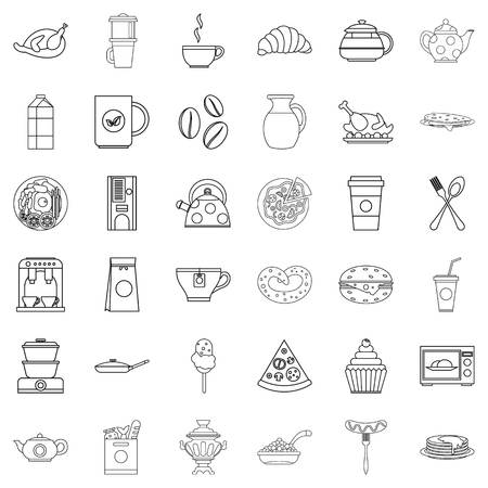 Eatables icons set. Outline set of 36 eatables vector icons for web isolated on white background. Illustration