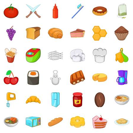 Edible icons set. Cartoon set of 36 edible vector icons for web isolated on white background Ilustrace