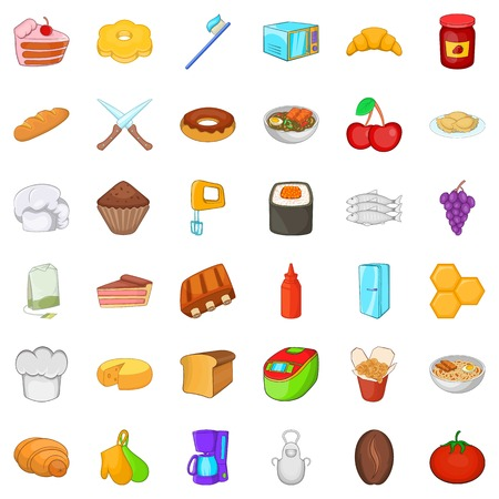 Variety of food icons set. Cartoon set of 36 variety of food vector icons for web isolated on white background