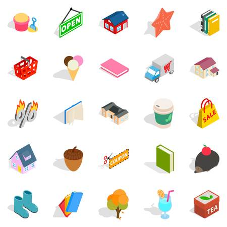 Friendly family icons set. Isometric set of 25 friendly family vector icons for web isolated on white background Çizim