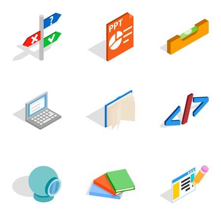 Creative specialty icons set. Isometric set of 9 creative specialty vector icons for web isolated on white background. Illustration