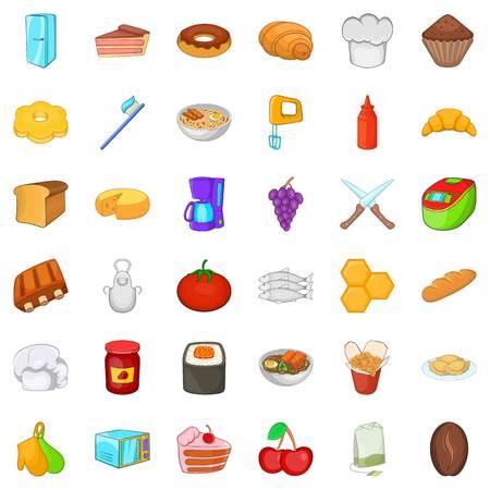 Celebratory meal icons set, cartoon style