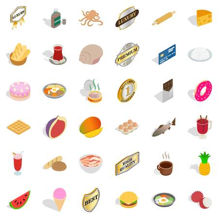 Tableful icons set. Isometric set of 36 tableful vector icons for web isolated on white background. Ilustrace