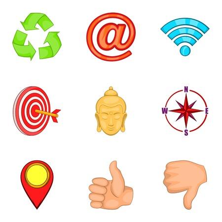 Element for design icons set. Cartoon set of 9 element for design vector icons for web isolated on white background. Illustration