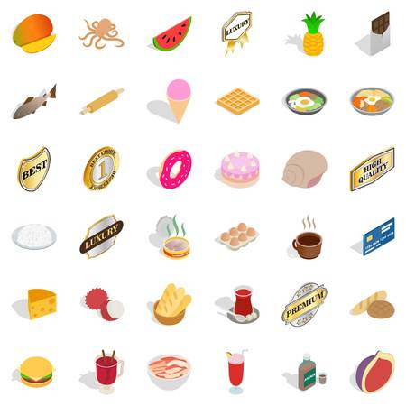 Eat greedily icons set. Isometric set of 36 eat greedily vector icons for web isolated on white background Illustration