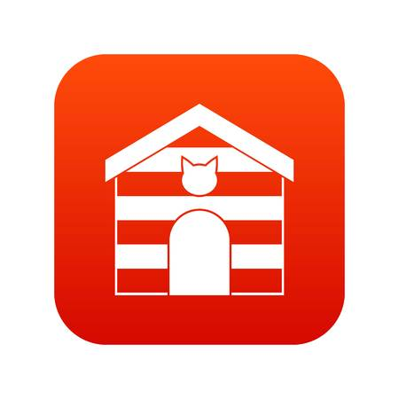 Cat house icon digital red illustration. Illustration