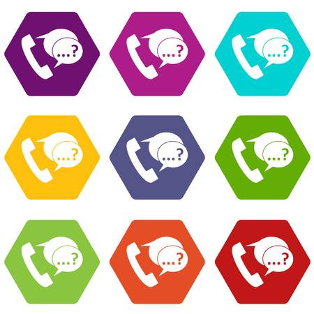 Phone sign and support speech bubbles icon set color hexahedron Illustration