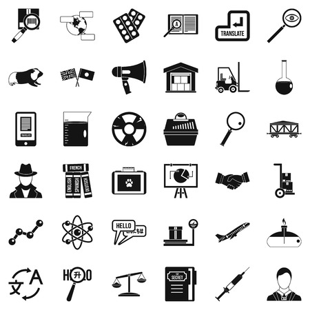 Scientific instrument icons set. Simple set of 36 scientific instrument vector icons for web isolated on white background.