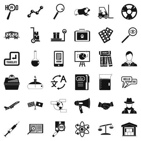 Scientific tool icons set, simple style