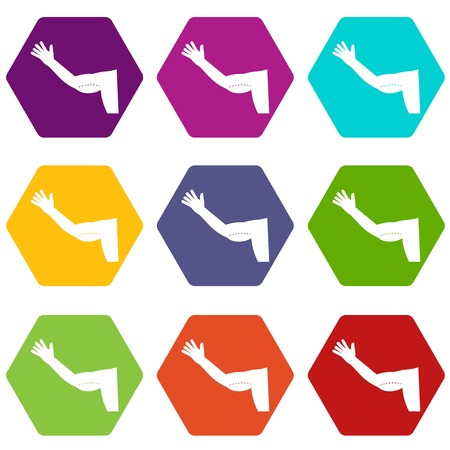 Flabby arm cosmetic correction icon set color hexahedron Illustration