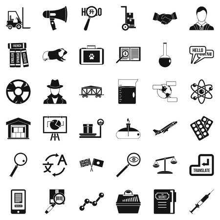 Academic icons set, simple style