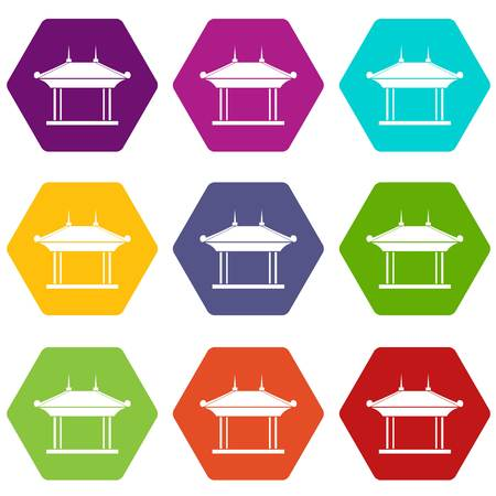 Pagoda icon set color hexahedron.