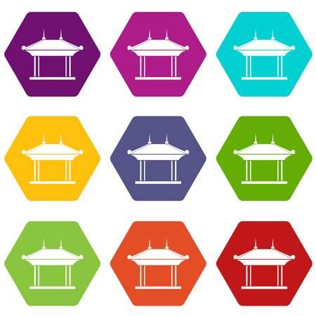 Pagoda icon set color hexahedron.