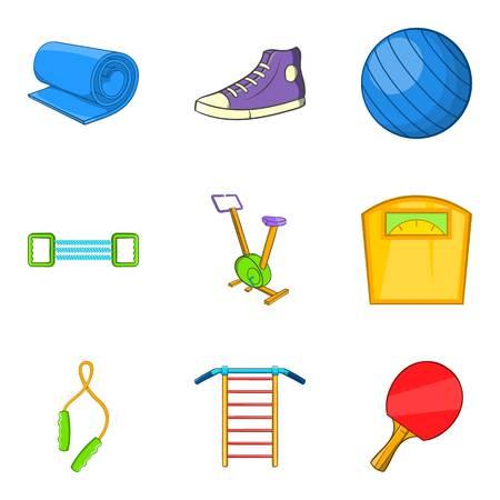 Gymnasium icons set, cartoon style. Illustration
