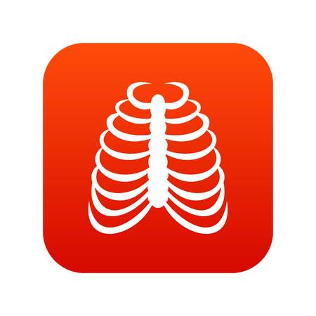 Rib cage icon digital red