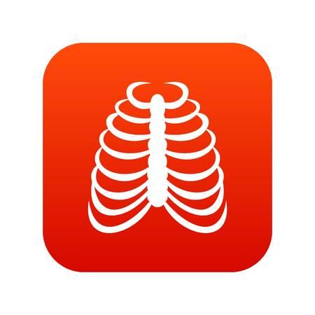 Rib cage icon digital red