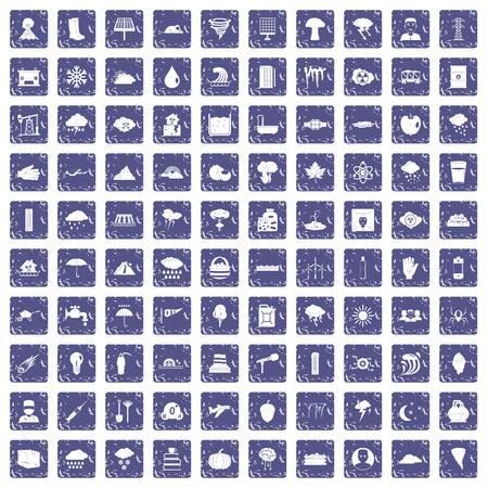 100 thunderstorm icons set grunge sapphire. Ilustração