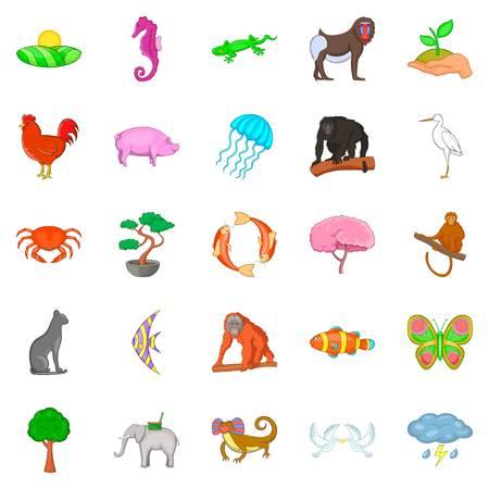 Wild animal icons set. Cartoon set of 25 wild animal vector icons for web isolated on white background