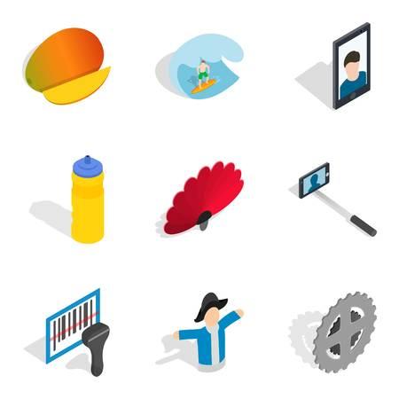 Dependence icons set, isometric style