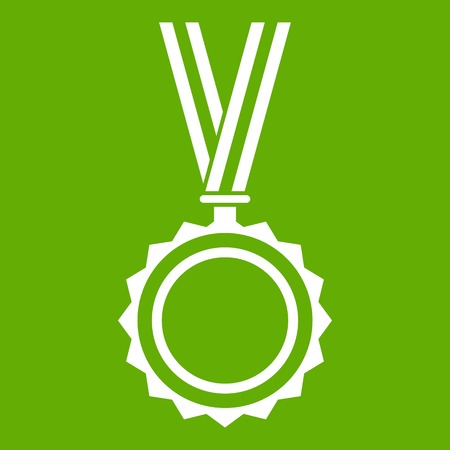 Medal icon white isolated on green background. Vector illustration